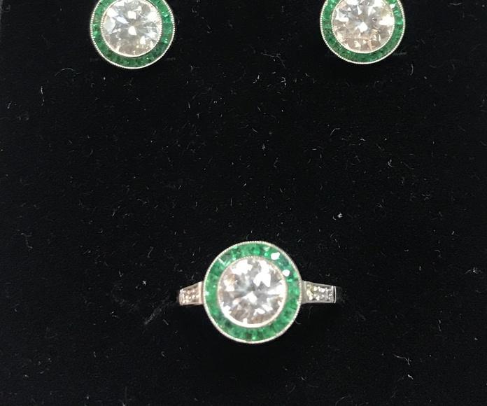 pendientes y anillo Art Déco ojo de perdiz diamante y esmeralda