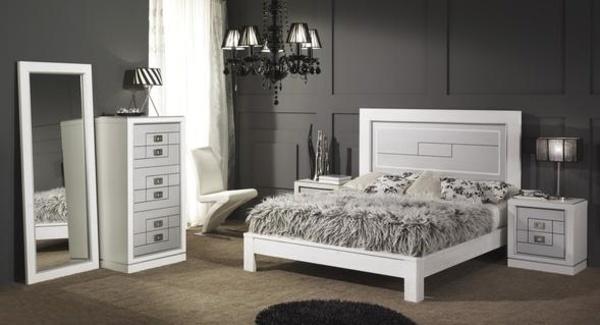 Dormitorio en roble macizo lacado en blanco con plata
