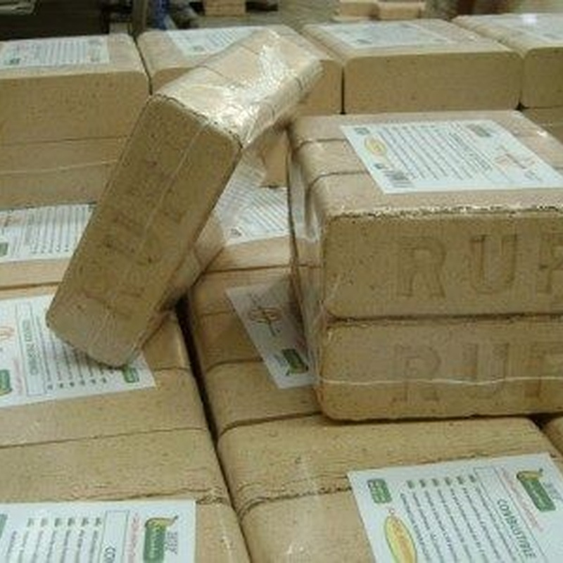 """BRIQUETA """"RUF"""" PAQUETE PLASTIFICADO con 6 unidades y Peso 11,5 KG CERTI SGS: Catálogo de Chimeneas Ferrol"""