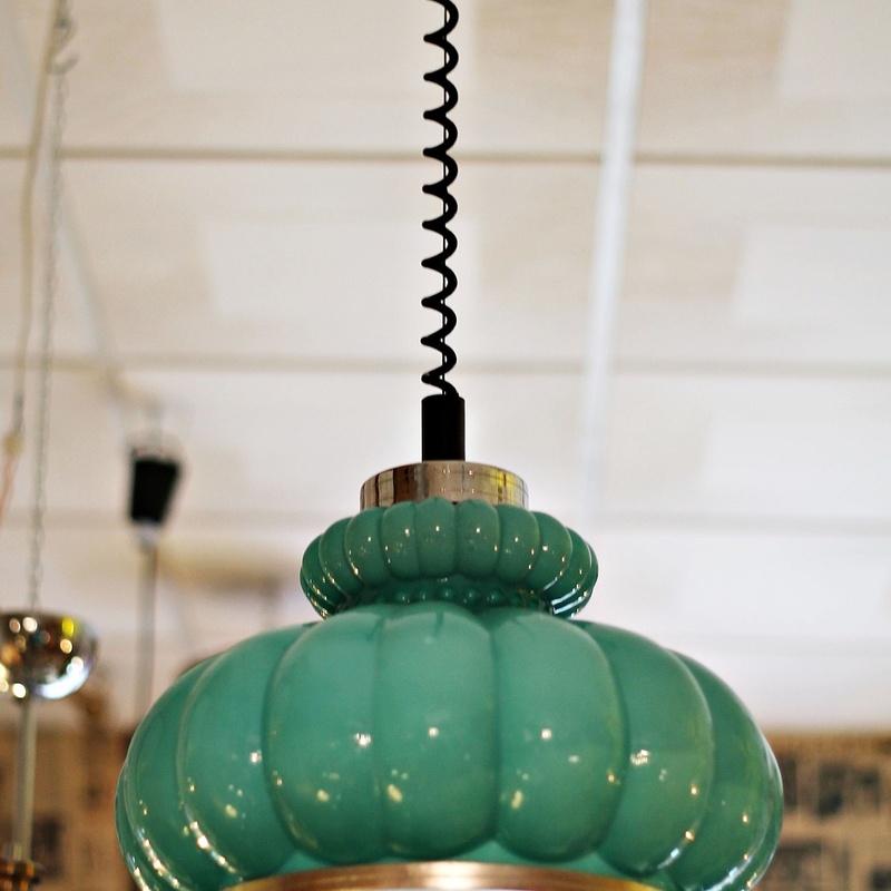 Lámpara opalina turquesa años 40:  de Ruzafa Vintage