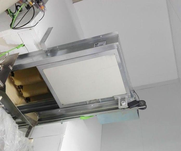 Corredera automática cortafuegos en cinta transportadora