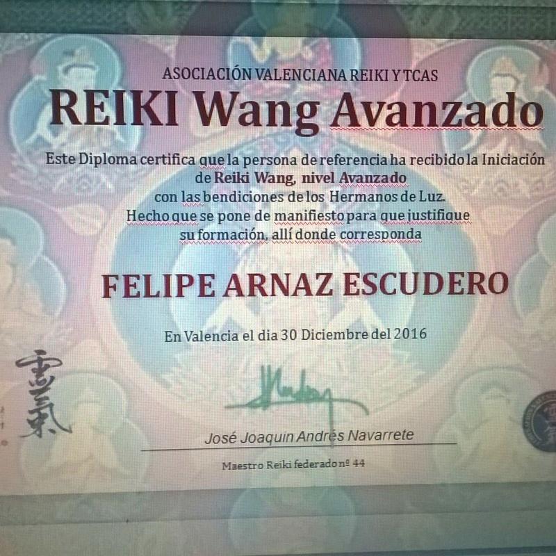 Diploma: Reiki Wang Avanzado
