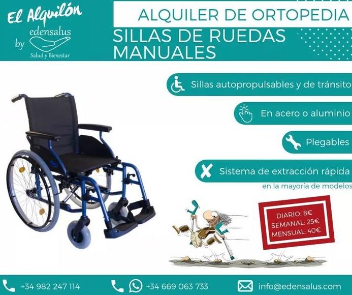 Alquiler Sillas de ruedas manuales : Catálogo de Edensalus