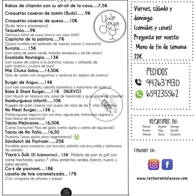 Carta: Carta de Restaurante La Yaya