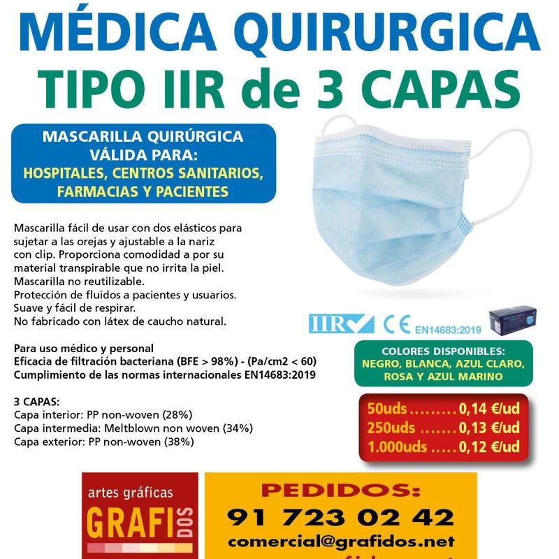 MASCARILLA QUIRURGICA TIPO IIR - USO MEDICO