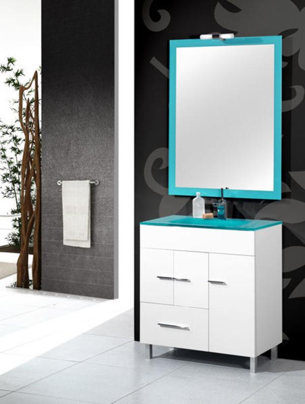 Mueble Danubio blanco de 80 con lavabo cristal, espejo y foco