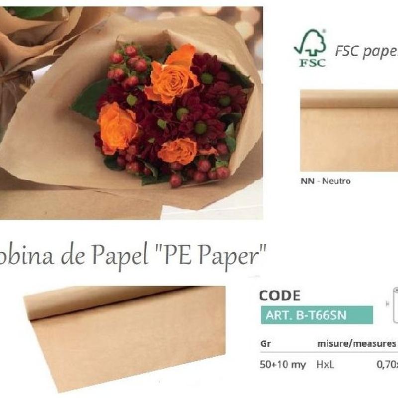 """BOBINA MODELO """"PE Paper"""" DE PAPEL KRAFT FSC + PE IMPERMEABLE (0,70 x 50MT) REF: B-T66SN PRECIO: 12,00€"""