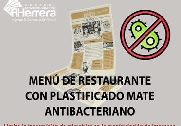 Menú plastificado antibacteriano mate