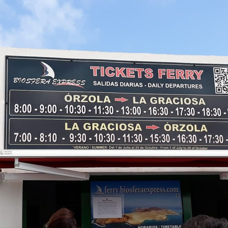 Schedule: Biosphere Express de Biosfera Express Puerto de Órzola