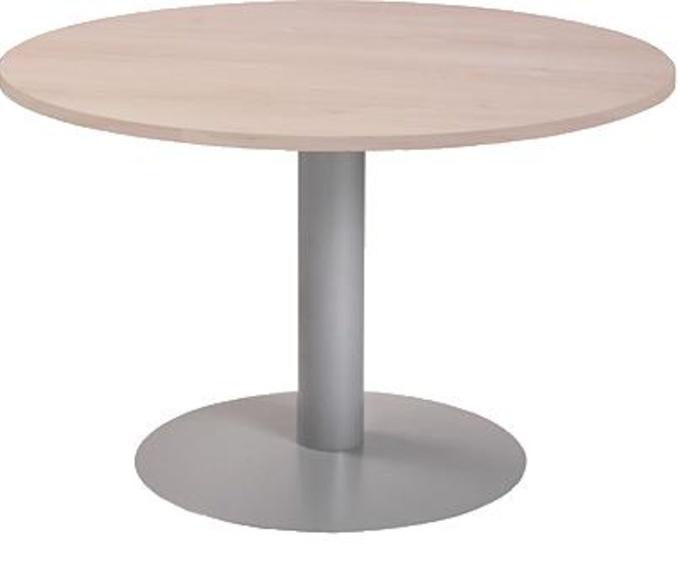 Mesa redonda de 120 cm. color Haya y pie metálico color aluminio.