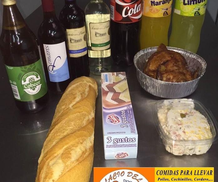menu 1: pollo asado + ensaladilla + pan + helado o bebida