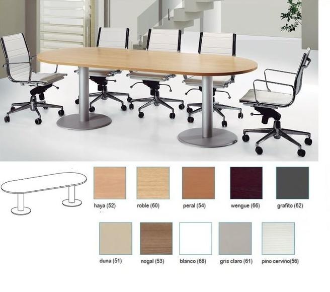 mesa de reuniones avalada con pies metálicos color aluminio.