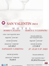 Ofertas San Valentín Hotel Doña Carlota Ciudad Real