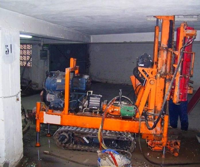Realización de sondeo en interior de sótano