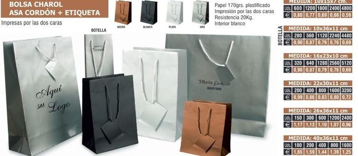 Bolsa de charol asa cordon mas etiqueta: TIENDA ON LINE de Seriprint