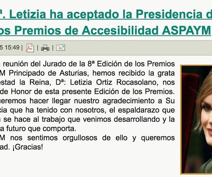 La Reina Dª Leticia acepta la presidencia de honor de la 8ª edición Premios de Accesibilidad ASPAYM