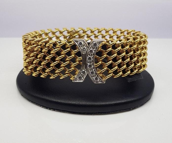 Pulsera de esterilla milanesa, de la firma MORELLATO, oro de 18 kt y diamantes de talla brillante. ORIGINAL.
