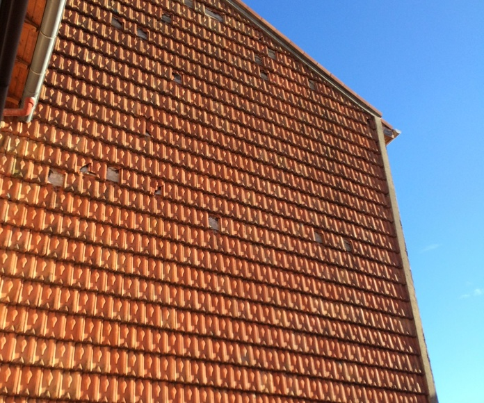 Rehabilitación de fachadas de tejas en Santander.