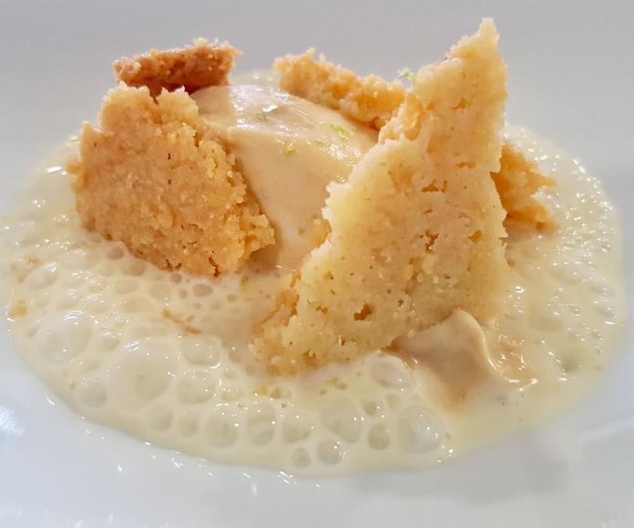 Turrón,  leche merengada y mantequilla salada.