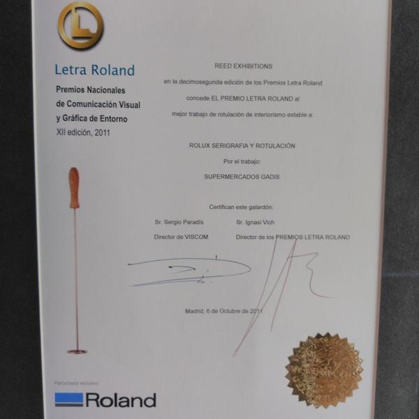 ROLUX RECIBE EL PREMIO LETRA ROLAND