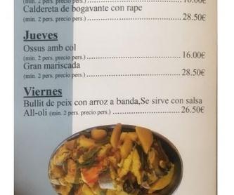 Pastas: Carta de Restaurante Arrocería Es Arcs