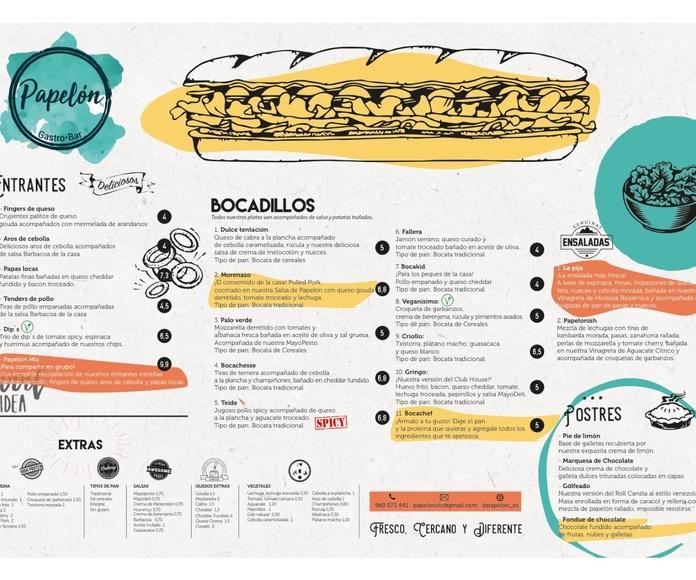 """Consulta nuestra carta pinchando en """"más info"""": Nuestra carta de Papelón Gastrobar"""