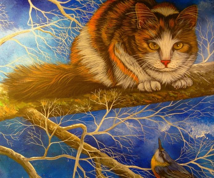 Therese Coustry. El gato y el pajaro.