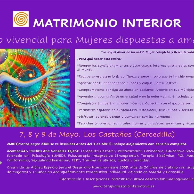 Matrimonio Interior 20, 21 y 22 Mayo 2022: Servicios Terapéuticos de Terapia Gestalt Integrativa