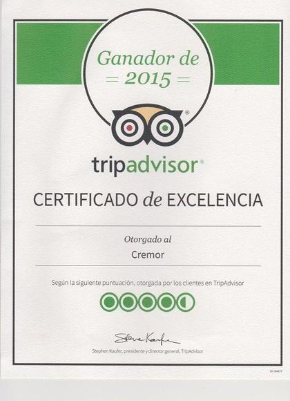 Certificado de Excelencia TripAdvisor para Restaurante Cremor
