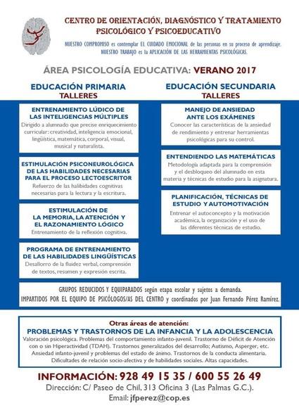 Área Psicología Educativa: Talleres Verano 2017
