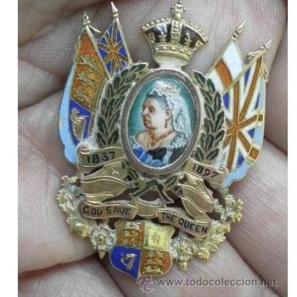 Inglaterra. Broche jubileo de la reina Victoria. 1837 - 1897: Catálogo de Antiga Compra-Venta