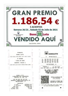 NUEVO PREMIO EN CASA CARMINA. 5 ACIERTOS DE LA BONO-LOTO DEL PASADO SÁBADO 2 DE JULIO.