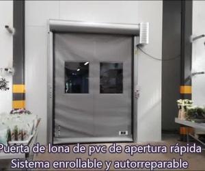 Puerta rápida de lona enrollable con telón autorreparable por golpe