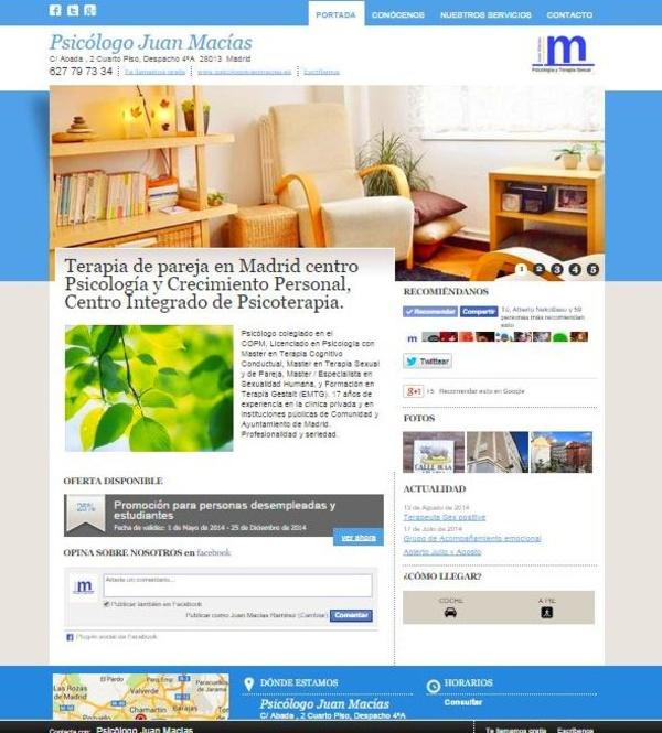 Psicólogo Sanitario Madrid Centro: Nuestros servicios de Psicólogo Juan Macías