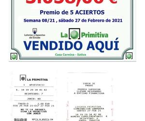 Premio de 5 Aciertos en la Primitiva del Sábado 27 Febrero repartido en CASA CARMINA.