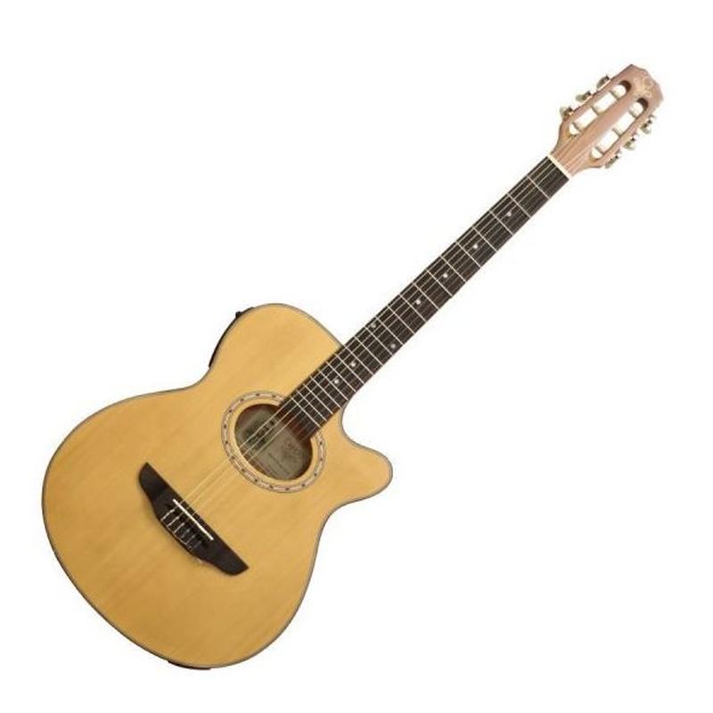 Guitarra clasica española Garrido Bossa electrificada previo afinador estrecha