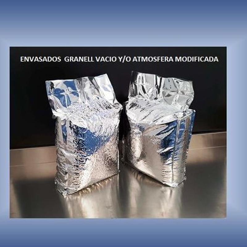 Envasado vació de alimentos con/sin atmósfera modificada con barrera de aluminio