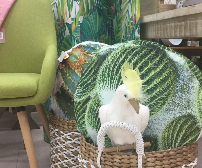 Decoración textil tonos verdes