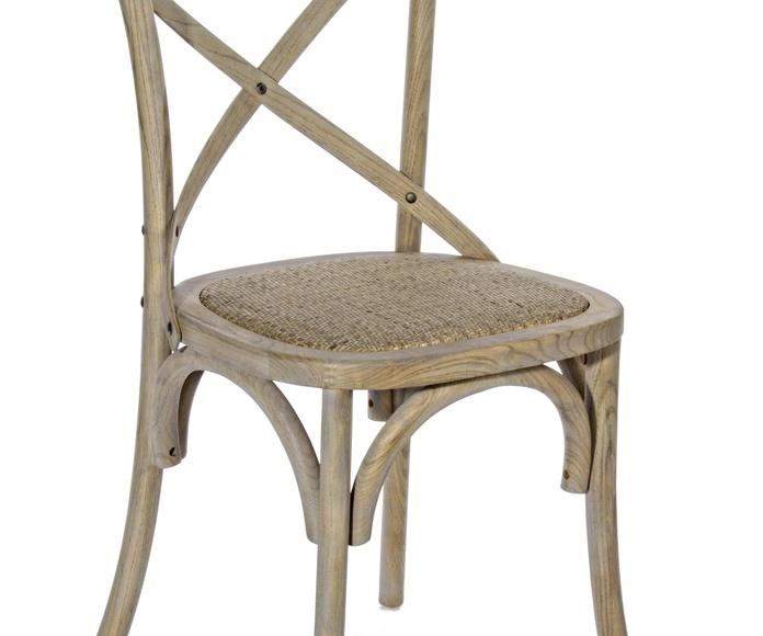 Silla Cruceta en madera de olmo y asiento rattan: Catálogo de Ste Odile Decoración