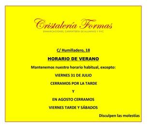 HORARIO DE VERANO DE CRISTALERÍA FORMAS