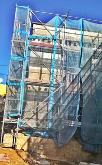 Andamio de fachada para rehabilitación de vivienda antigua. Güímar.