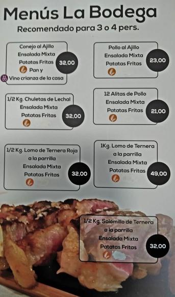Menús La Bodega: Carta de La Bodega Mesón Restaurante