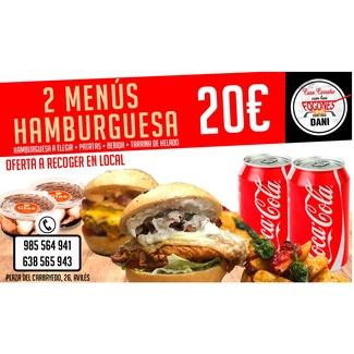 2 menús hamburguesa 20€