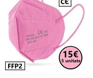 Paquet 5 unitats de mascaretes FFP2 color rosa