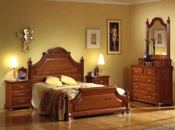 Dormitorio en madera maciza de roble.