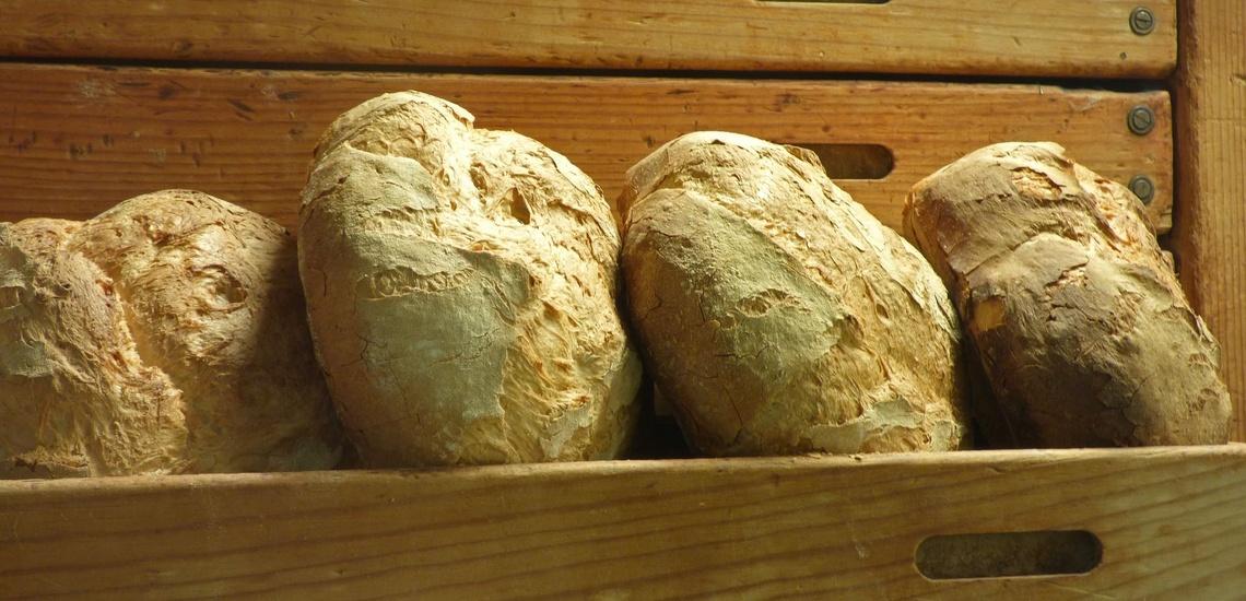 Pan artesano en Sant Vicenç dels Horts. Hogazas de pan payés