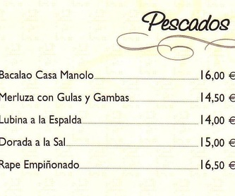 CARNES: carta de especialidades de Casa Manolo Restaurante