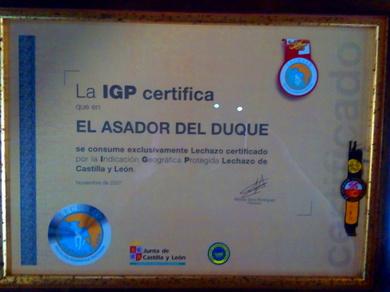 Solo lechazo certificado por la IGP