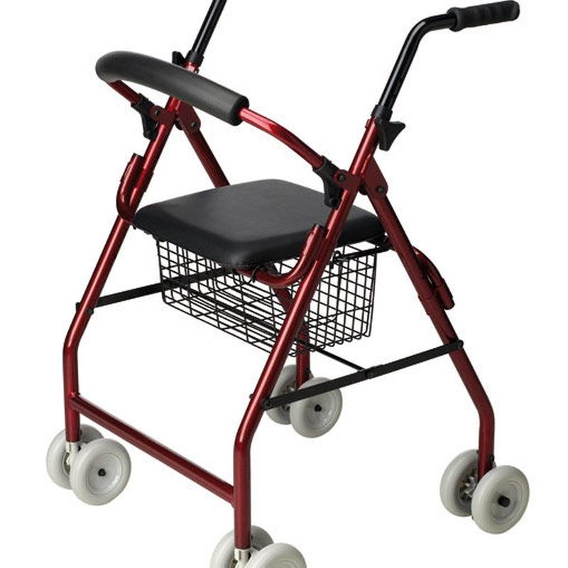Andador aluminio con ruedas, asiento y cesta