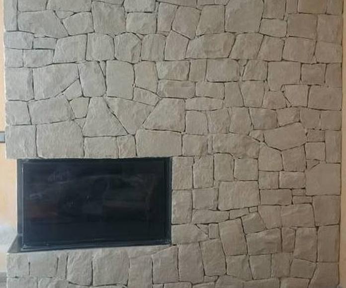 Chimenea en piedra blanca de almorqui